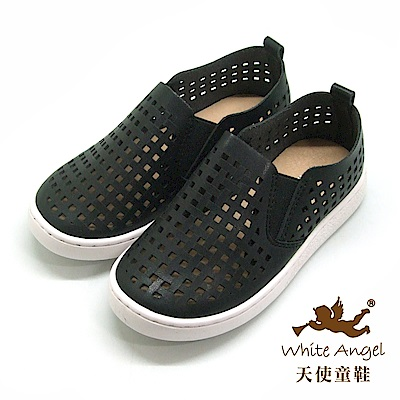天使童鞋 四方谷洞洞休閒鞋(中-大童)D375-黑