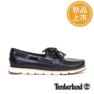 Timberland 女款黑色皮革CAMDEN FALLS帆船鞋