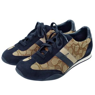 COACH卡其C Logo拼接深藍麂皮雙斜紋綁帶休閒鞋