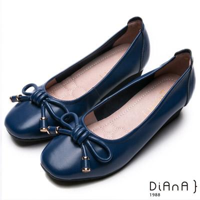 DIANA 百搭原色--繩索蝴蝶結真皮坡跟娃娃鞋-藍