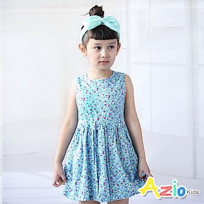Azio Kids洋裝 小碎花印花造型抽繩無袖洋裝(藍)