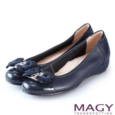 MAGY 氣質甜美女孩 造型五金牛皮楔型娃娃鞋-藍色