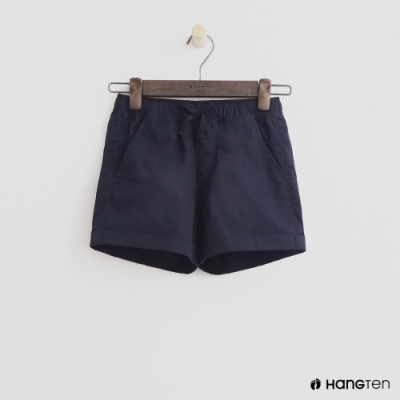 Hang Ten -童裝 - 純色綁帶造型短棉褲 - 深藍