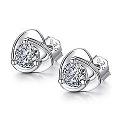 米蘭精品 925純銀耳環-簡約心形鑲鑽耳環