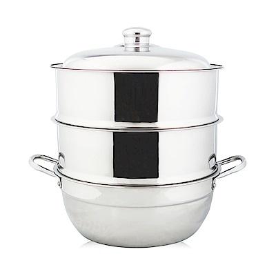 萬得威304不鏽鋼蒸籠組湯鍋28cm二入蒸盤