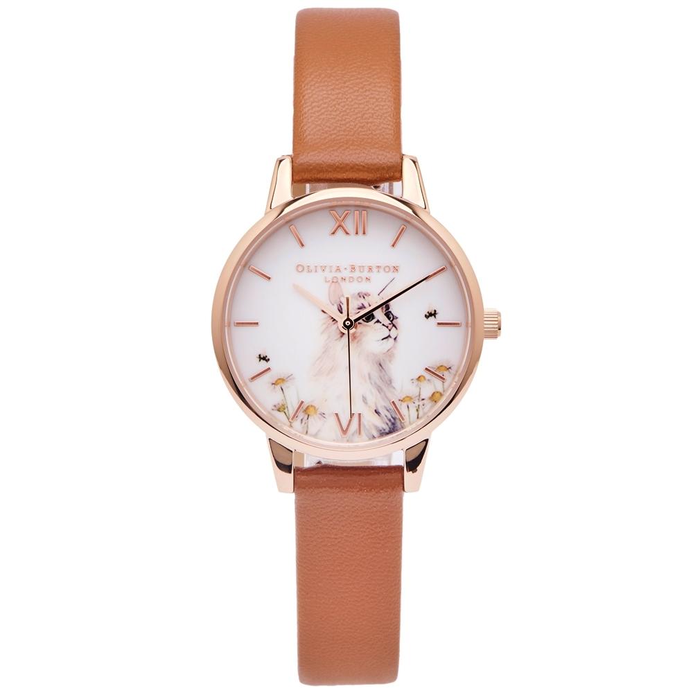 OLIVIA BURTON 優雅貓咪風格的皮革錶帶手錶(OB16WL87)-白面/30mm
