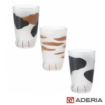 ADERIA 日本進口可愛貓足磨砂玻璃杯3件套組-300ML