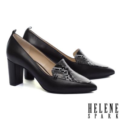 高跟鞋 HELENE SPARK 知性時髦蛇紋異材質尖頭粗高跟鞋-黑