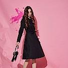 Chaber巧帛 極簡時尚襯衫式設計長袖造型洋裝(兩色)-黑