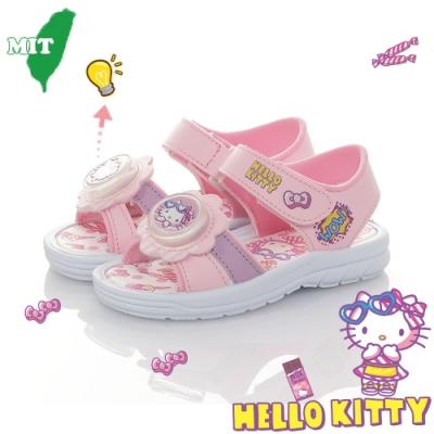 HelloKitty童鞋 電燈鞋 氣質輕量減壓休閒涼鞋-粉