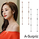 A-Surpriz  韓劇金秘書純925銀直線鋯石長耳環(2色選)