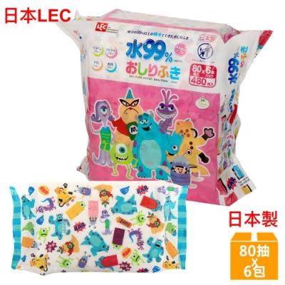 日本LEC 迪士尼怪獸電力公司-純水99%濕紙巾-80抽x6包入