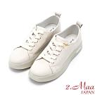 2.Maa 繽紛撞色牛皮綁帶厚底小白鞋 - 米白