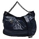 CHANEL Coco Pleats雙C LOGO拉鍊吊飾小羊皮銀鍊肩/斜背包-中-海軍藍