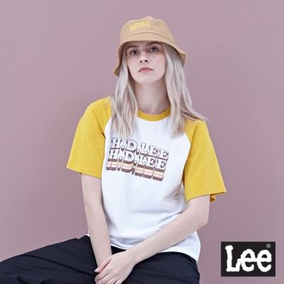 Lee 短T 男朋友版 logo黃色拉克蘭袖立體HD LEE撞色文字印刷 女 白