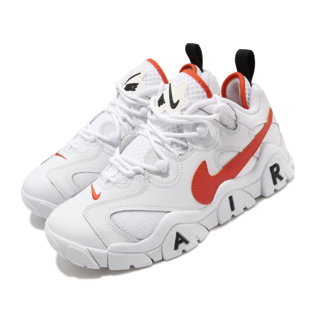 Nike 休閒鞋 Air Barrage Low 男女鞋 經典款 復古 舒適 球鞋 情侶穿搭 白 橘 CJ5395100