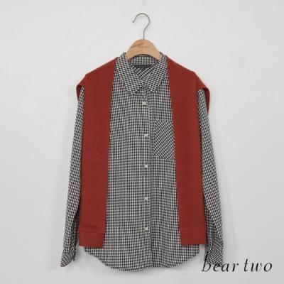 beartwo-兩件式格紋造型上衣-深橘