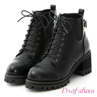 D+AF 勁酷作風.個性綁帶高跟厚底短靴*黑