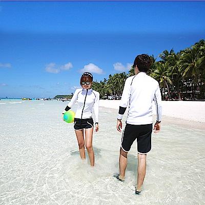 Biki比基尼妮泳衣  浮潛衣白色拉鍊沖浪服滑水長袖泳衣(單上衣)