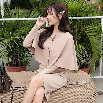 DABI 韓國風針織顯瘦運動休閒套裝長袖裙裝