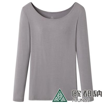 【ATUNAS 歐都納】女款熱流感長袖貼身內著衣/發熱衣/衛生衣A-U1215W灰