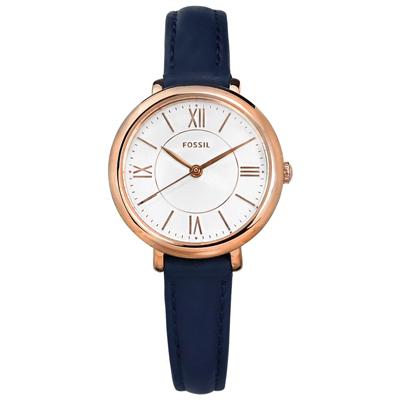 FOSSIL 典雅簡約 礦石強化玻璃 日本機芯 真皮手錶-白x玫瑰金框x深藍/27mm