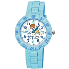 Sanrio三麗鷗 數字轉圈系列手錶 KIKILALA雙子星34mm粉藍色