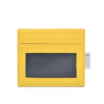 PORTER - 生活選物PUFF橫式掛繩證件套 - 粉蠟黃