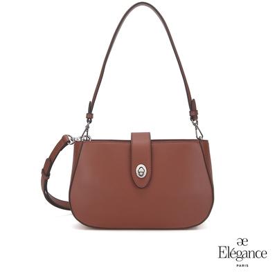 【Elegance】EUDORA 轉鎖小側背包-咖啡色