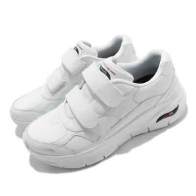 Skechers 休閒鞋 Arch Fit-Best Step 女鞋 魔鬼氈 支撐 專利鞋墊 穩定 回彈 白 149410WNVR