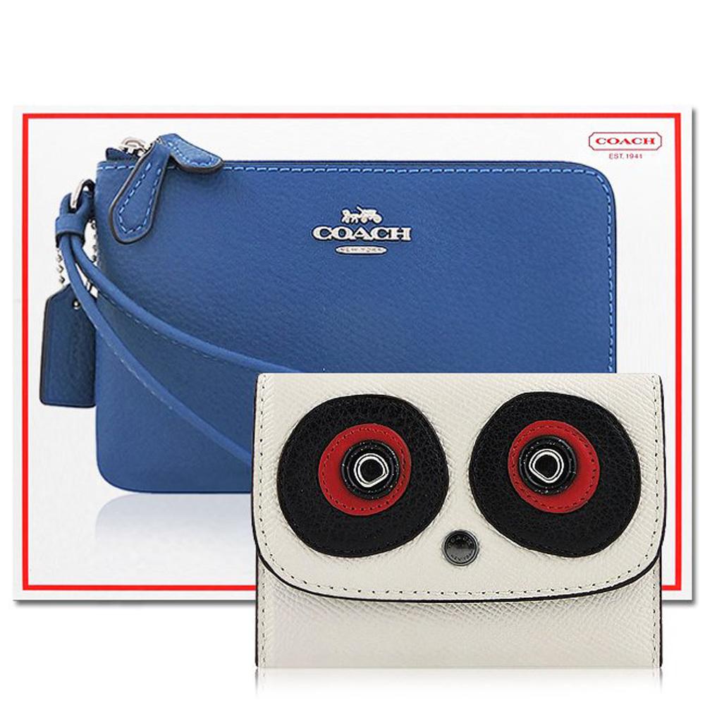 COACH 藍色皮革雙層手拿包+COACH 白色防刮皮革證件名片短夾COACH