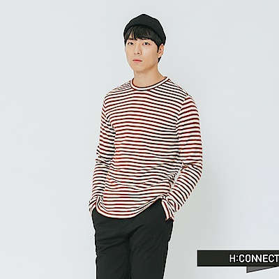 H:CONNECT 韓國品牌 男裝-舒適條紋圓領上衣-棕