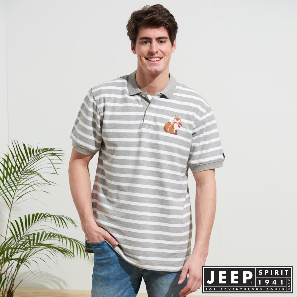 JEEP 時尚狐狸圖騰條紋短袖POLO衫-灰色