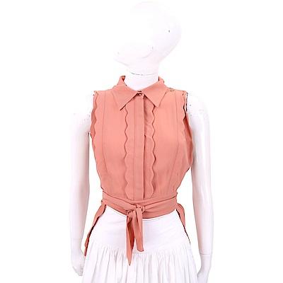 ELISABETTA FRANCHI 花瓣荷葉細節霧橘粉綁帶雪紡襯衫
