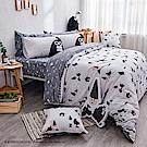 戀家小舖 / 雙人加大床包被套組  掰啾普拉斯  100%精梳棉  台灣製