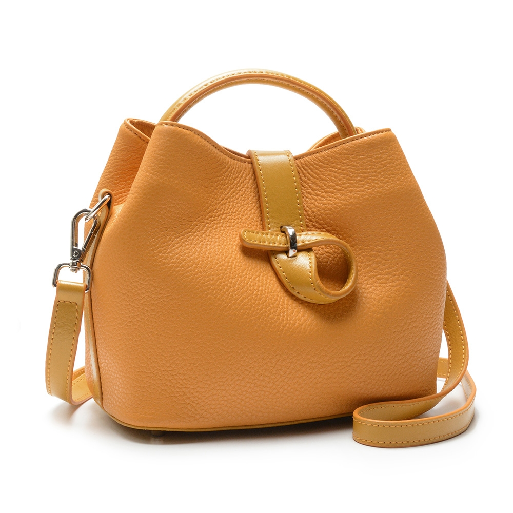 2R Style牛皮斜背風雅皮釦包 黃/橙