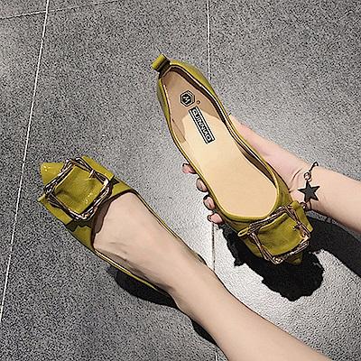 韓國KW美鞋館 輕柔好感印象樂活舒適平底鞋-綠色