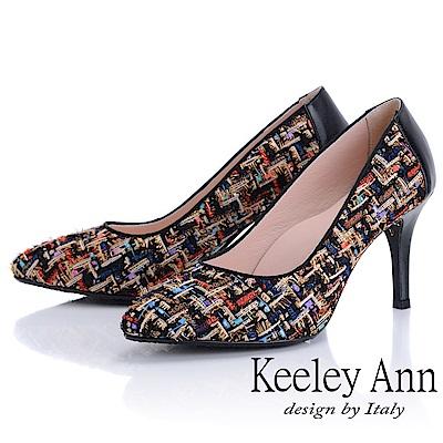 Keeley Ann 年代風華~繽紛布拼接風真皮軟墊高跟鞋(黑色-Ann)