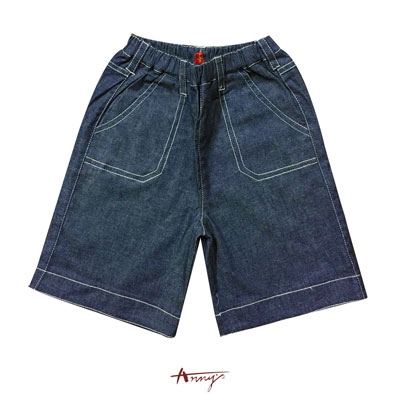 Annys休閒安妮質感單寧外縫線造型短褲*9394藍