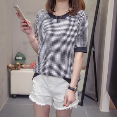 2F韓衣-簡約拼接格紋造型上衣-黑色-認(XL-3L)