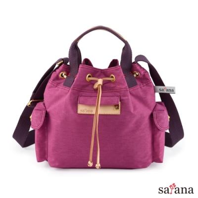 satana - Soldier Mini抽繩水桶包 - 霧紫紅
