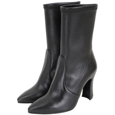 Stuart Weitzman CLINGERSWOOP 尖頭皮革短靴(黑色)