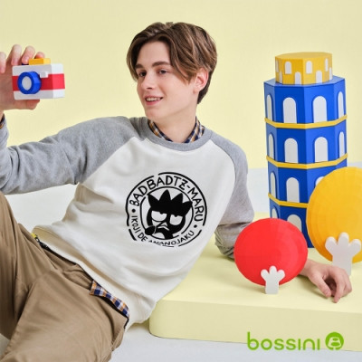 bossini男裝-酷企鵝圖案牛角袖厚棉T恤乳白