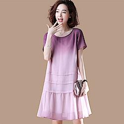 初色  文藝漸層百搭連身洋裝-淺紫色-(M-2XL可選)