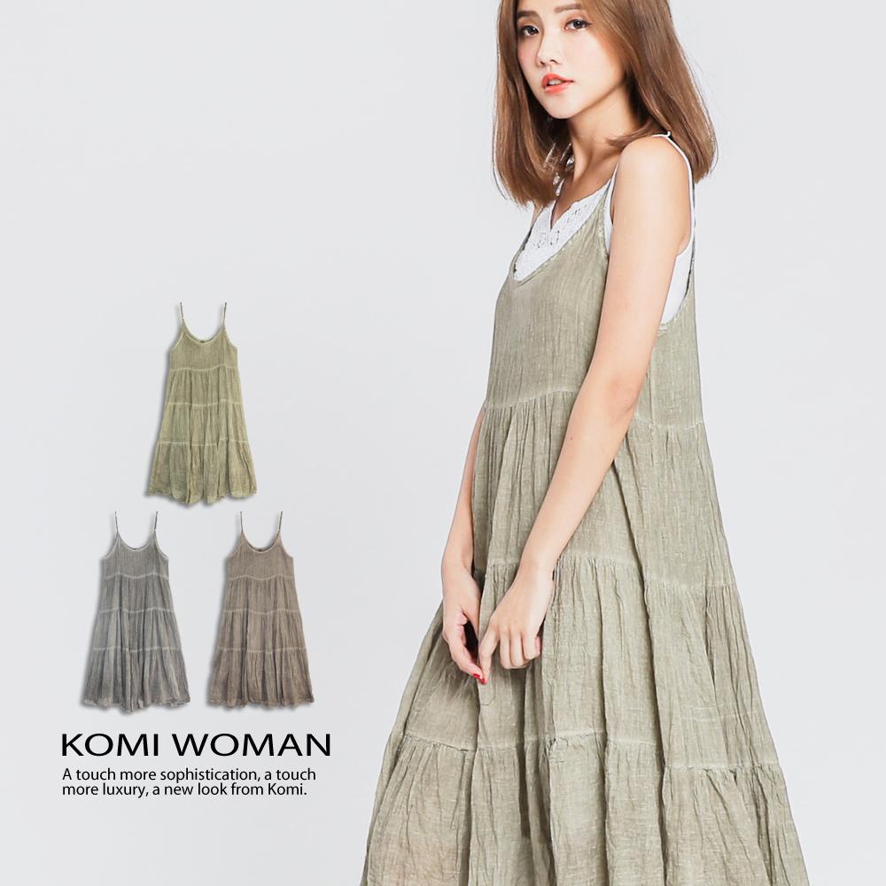 【KOMI】棉綁染細肩帶荷葉長洋裝‧薄棉裡 ‧ 三色