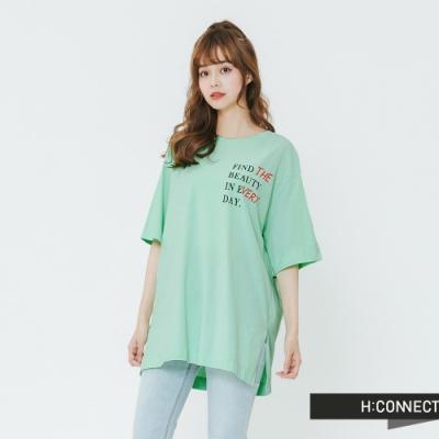 H:CONNECT 韓國品牌 女裝-正反印字微寬鬆T-shirt-綠