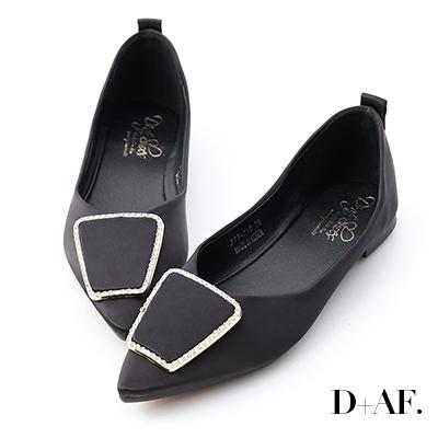 D+AF 華麗焦點.緞面鑽飾尖頭平底鞋*黑