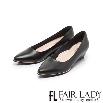 FAIR LADY 7DAYS七日色階經典圓口尖頭楔型低跟鞋 經典黑