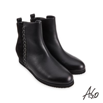 A.S.O  時尚流行 牛皮拼接羊絨飾釦真皮短靴-黑