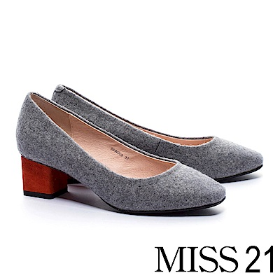 跟鞋-MISS-21-復古淑女純色方頭高跟鞋-灰
